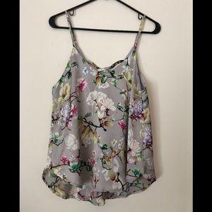 Tops - Grey floral silk tank